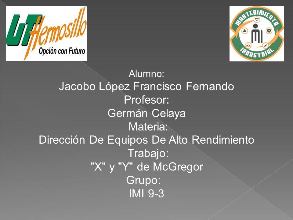 Alumno: Jacobo López Francisco Fernando Profesor: Germán Celaya Materia: Dirección De Equipos De Alto Rendimiento Trabajo: