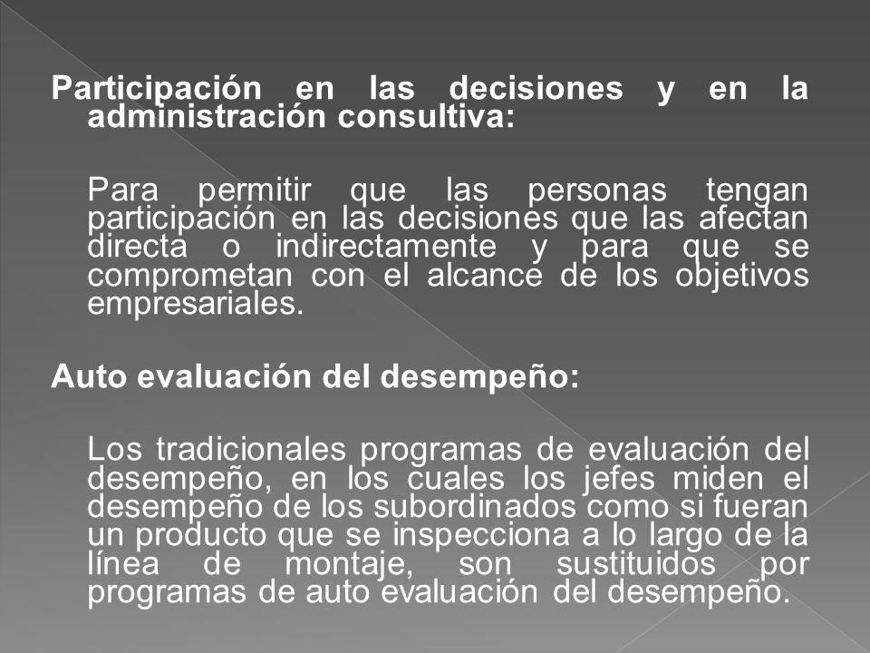 Participación en las decisiones y en la administración consultiva: Para permitir que las personas tengan participación en las decisiones que las afect