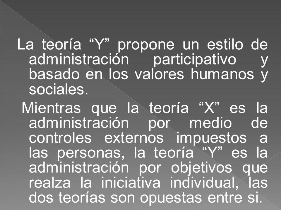 En oposición a la teoría X McGregor indica la teoría Y según la cual administrar un proceso de crear oportunidades y liberar potencialidades rumbo a la superación de las personas.