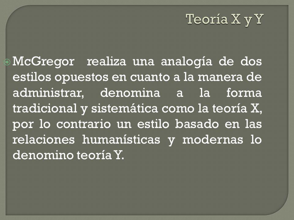 Teoría X y Y McGregor realiza una analogía de dos estilos opuestos en cuanto a la manera de administrar, denomina a la forma tradicional y sistemática como la teoría X, por lo contrario un estilo basado en las relaciones humanísticas y modernas lo denomino teoría Y.