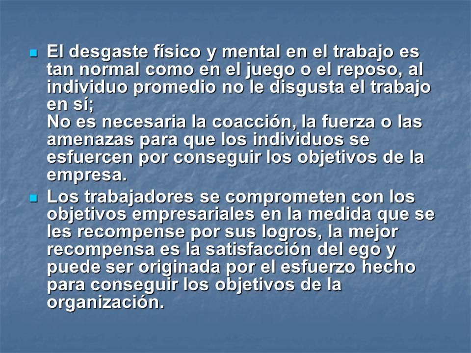 El desgaste físico y mental en el trabajo es tan normal como en el juego o el reposo, al individuo promedio no le disgusta el trabajo en sí; No es nec