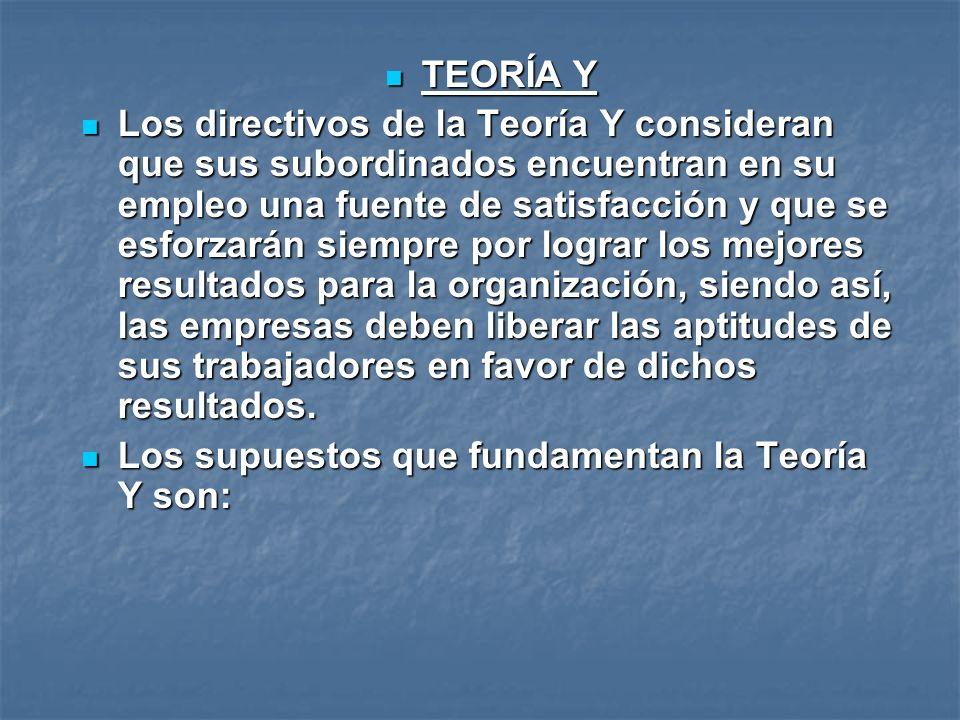 TEORÍA Y TEORÍA Y Los directivos de la Teoría Y consideran que sus subordinados encuentran en su empleo una fuente de satisfacción y que se esforzarán