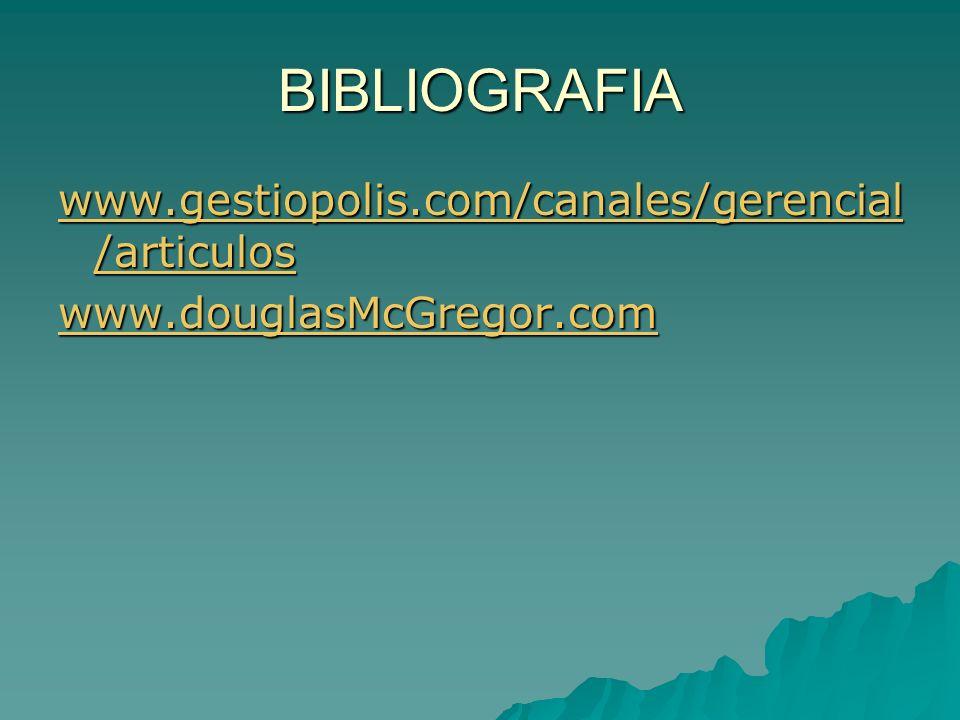 BIBLIOGRAFIA www.gestiopolis.com/canales/gerencial /articulos www.gestiopolis.com/canales/gerencial /articulos www.douglasMcGregor.com
