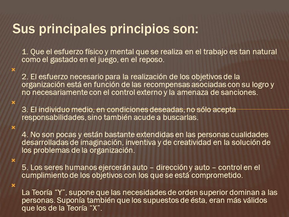 Sus principales principios son: 1. Que el esfuerzo físico y mental que se realiza en el trabajo es tan natural como el gastado en el juego, en el repo