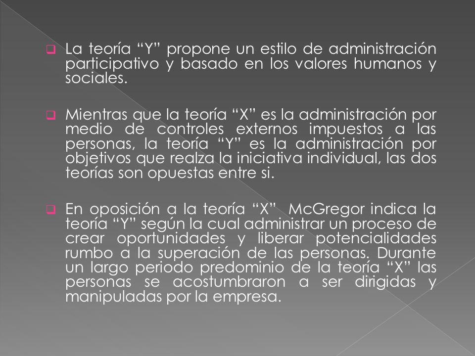 La teoría Y propone un estilo de administración participativo y basado en los valores humanos y sociales. Mientras que la teoría X es la administració