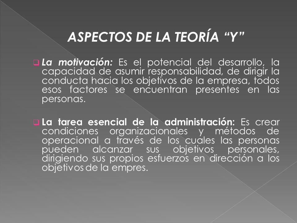 ASPECTOS DE LA TEORÍA Y La motivación: Es el potencial del desarrollo, la capacidad de asumir responsabilidad, de dirigir la conducta hacia los objeti