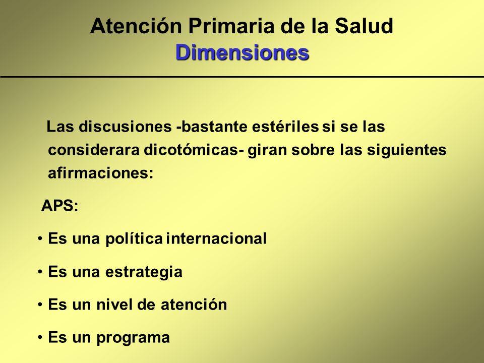 Dimensiones Atención Primaria de la Salud Dimensiones Las discusiones -bastante estériles si se las considerara dicotómicas- giran sobre las siguiente