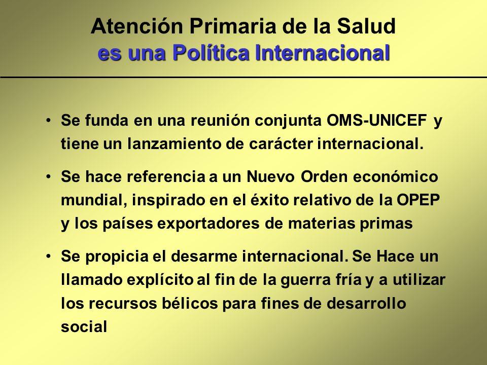 es una Política Internacional Atención Primaria de la Salud es una Política Internacional Se funda en una reunión conjunta OMS-UNICEF y tiene un lanza