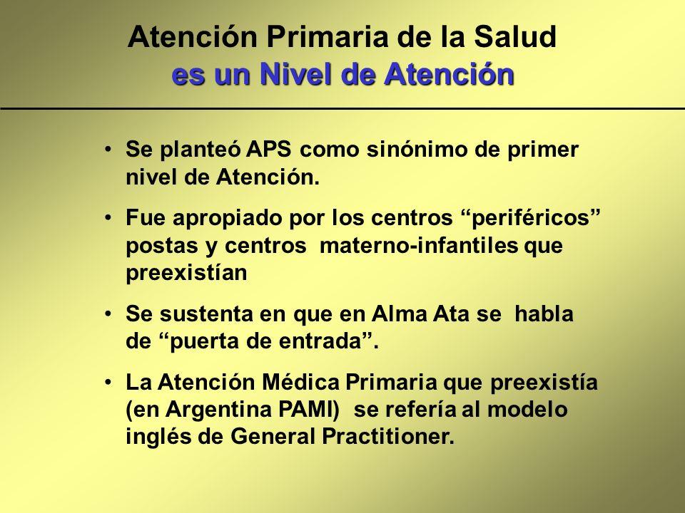 es un Nivel de Atención Atención Primaria de la Salud es un Nivel de Atención Se planteó APS como sinónimo de primer nivel de Atención. Fue apropiado