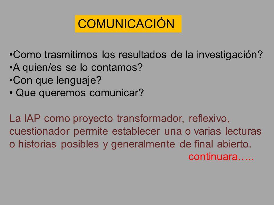 Como trasmitimos los resultados de la investigación? A quien/es se lo contamos? Con que lenguaje? Que queremos comunicar? La IAP como proyecto transfo
