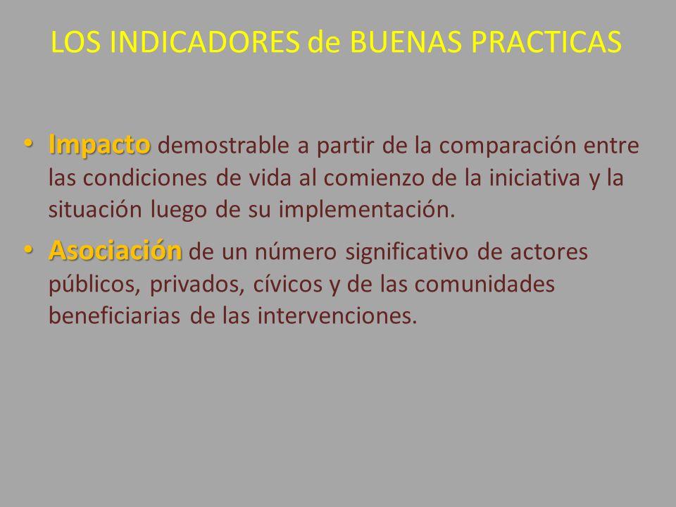LOS INDICADORES de BUENAS PRACTICAS Impacto Impacto demostrable a partir de la comparación entre las condiciones de vida al comienzo de la iniciativa