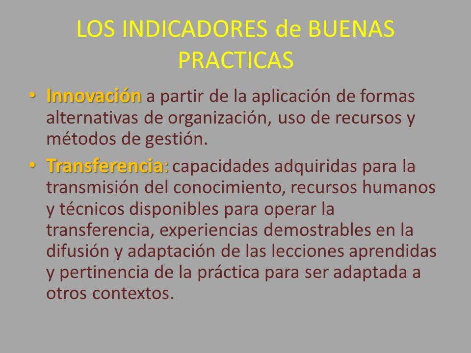 LOS INDICADORES de BUENAS PRACTICAS Innovación Innovación a partir de la aplicación de formas alternativas de organización, uso de recursos y métodos