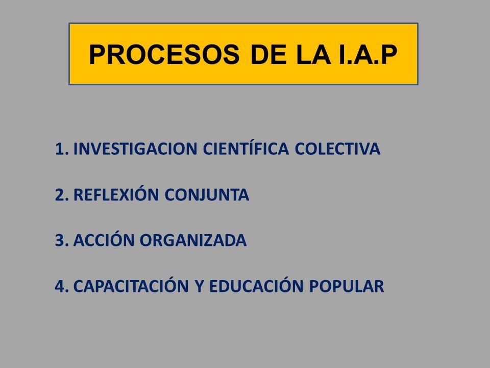 PROCESOS DE LA I.A.P 1.INVESTIGACION CIENTÍFICA COLECTIVA 2.REFLEXIÓN CONJUNTA 3.ACCIÓN ORGANIZADA 4.CAPACITACIÓN Y EDUCACIÓN POPULAR