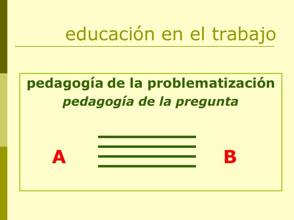 educación en el trabajo pedagogía de la problematización pedagogía de la pregunta A B