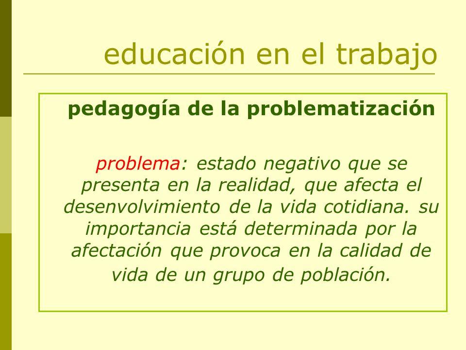 educación en el trabajo pedagogía de la problematización problema: estado negativo que se presenta en la realidad, que afecta el desenvolvimiento de l