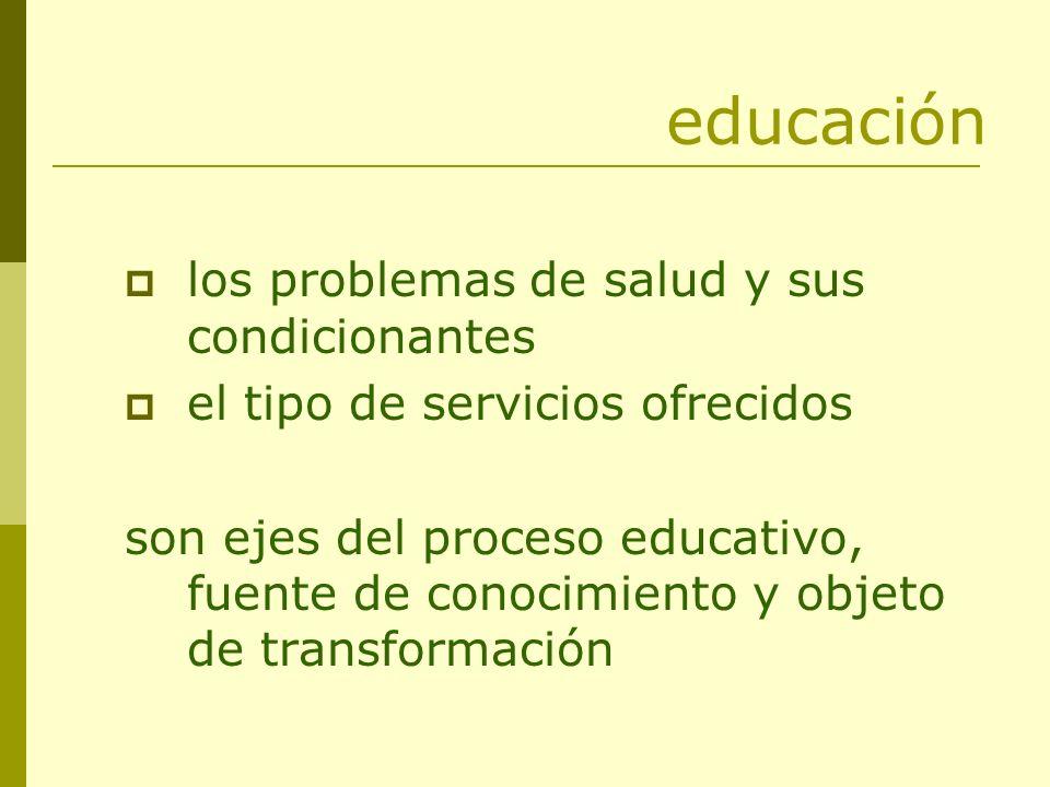 educación los problemas de salud y sus condicionantes el tipo de servicios ofrecidos son ejes del proceso educativo, fuente de conocimiento y objeto d