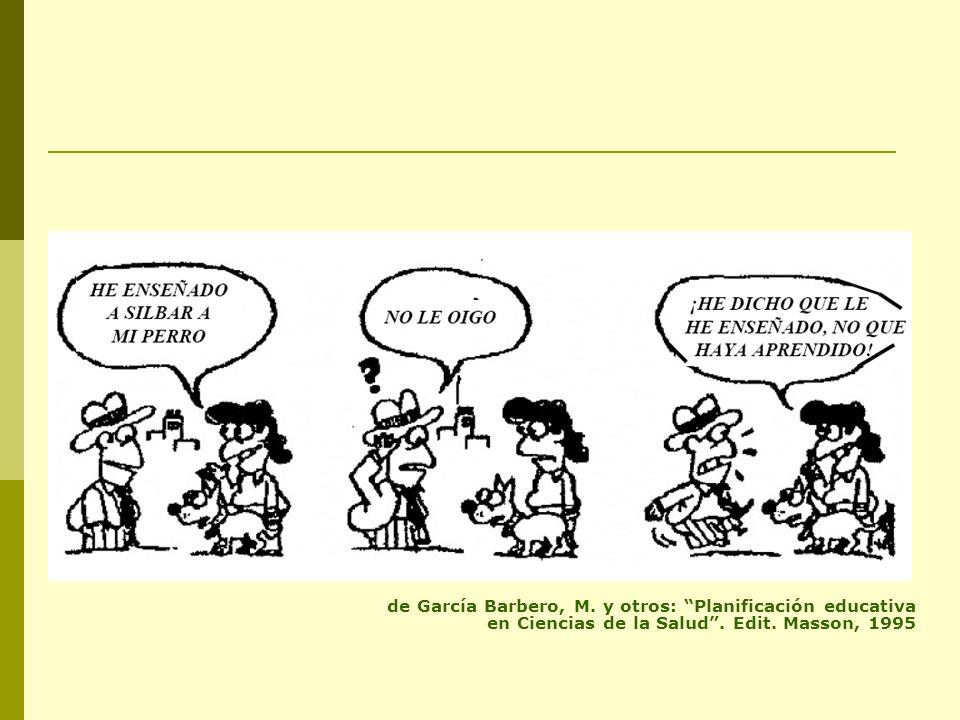 de García Barbero, M. y otros: Planificación educativa en Ciencias de la Salud. Edit. Masson, 1995