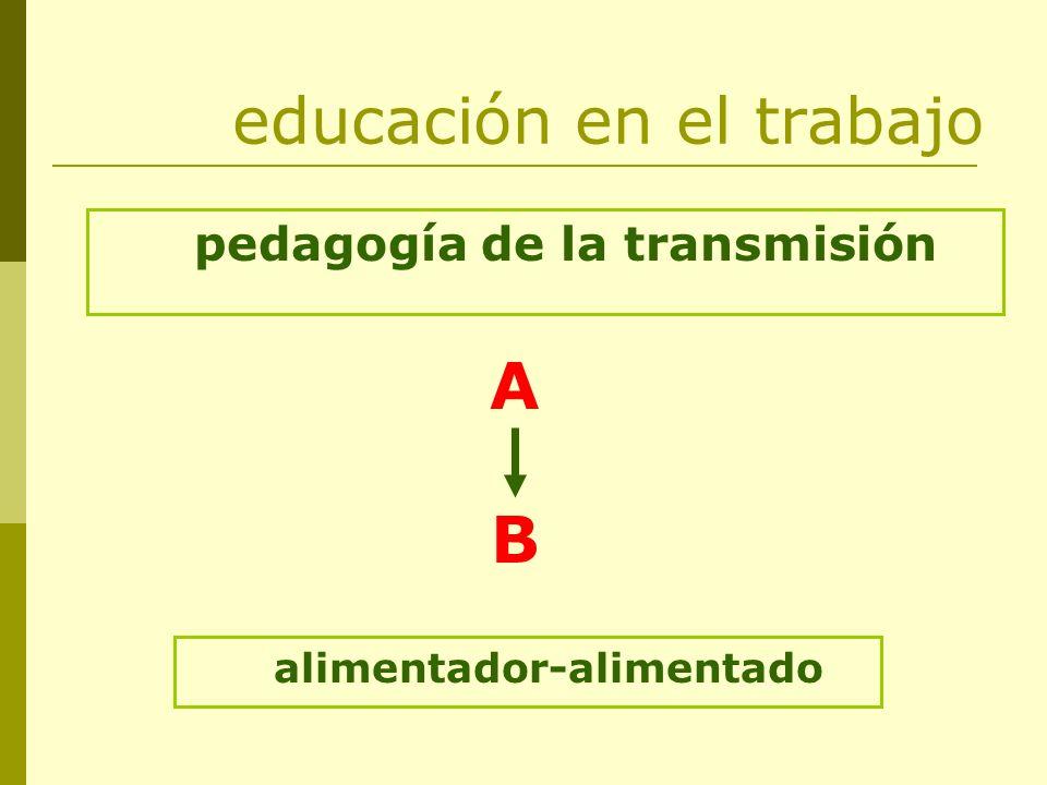 educación en el trabajo pedagogía de la transmisión ABAB alimentador-alimentado