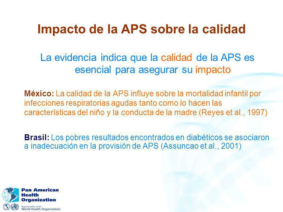 Impacto de la APS sobre la calidad La evidencia indica que la calidad de la APS es esencial para asegurar su impacto México: La calidad de la APS infl
