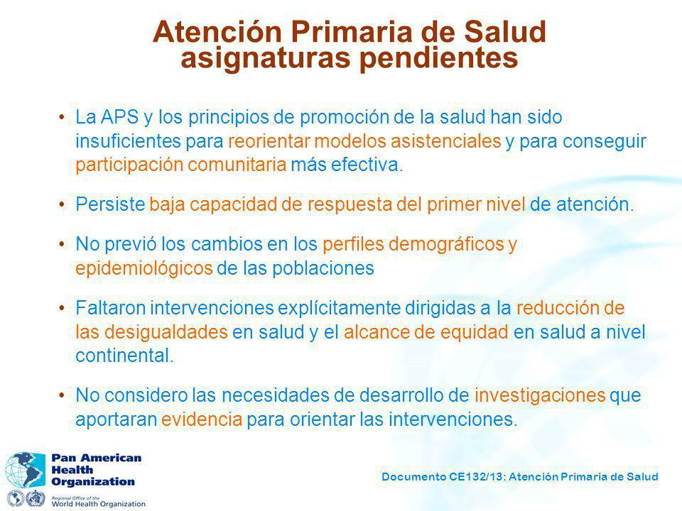 Documento CE132/13: Atención Primaria de Salud Atención Primaria de Salud asignaturas pendientes La APS y los principios de promoción de la salud han