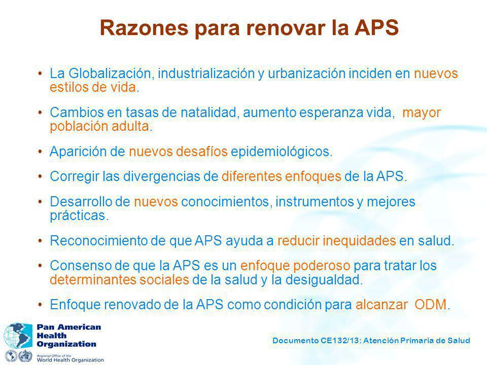 Documento CE132/13: Atención Primaria de Salud Razones para renovar la APS La Globalización, industrialización y urbanización inciden en nuevos estilo
