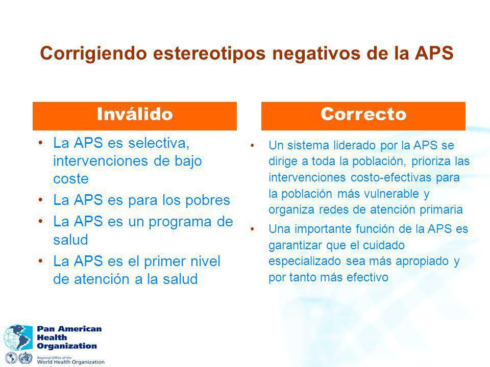 Corrigiendo estereotipos negativos de la APS La APS es selectiva, intervenciones de bajo coste La APS es para los pobres La APS es un programa de salu