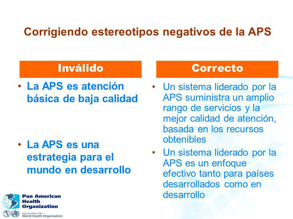 La APS es atención básica de baja calidad Inválido Un sistema liderado por la APS suministra un amplio rango de servicios y la mejor calidad de atenci
