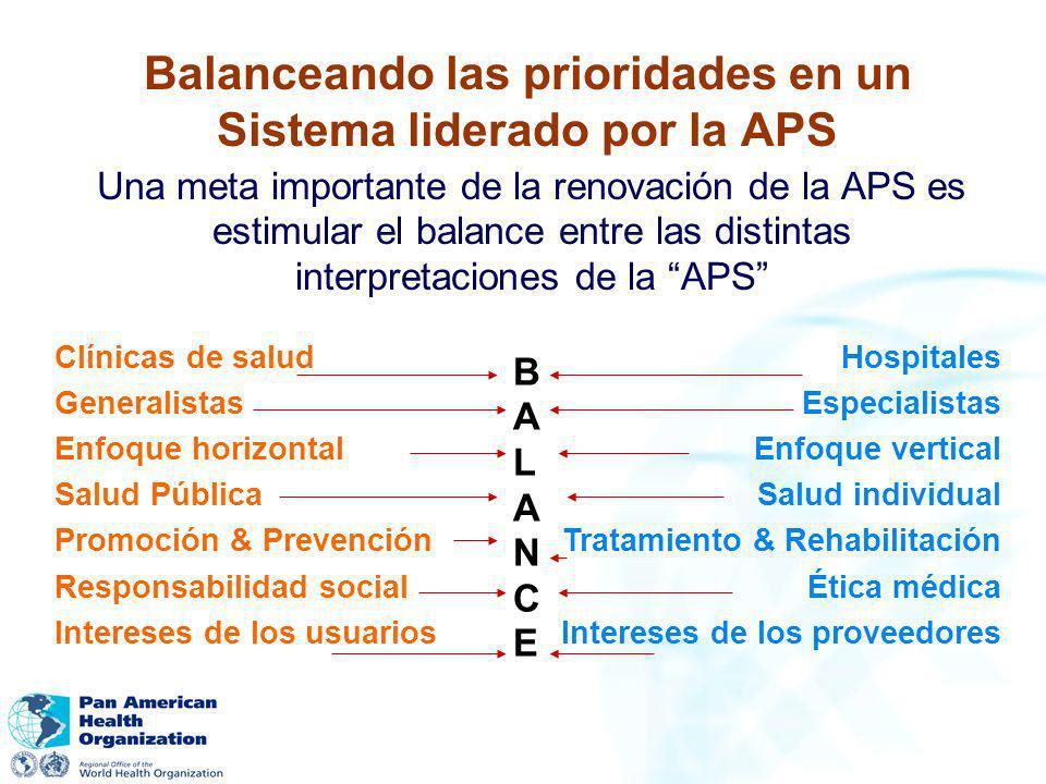 Balanceando las prioridades en un Sistema liderado por la APS Una meta importante de la renovación de la APS es estimular el balance entre las distint