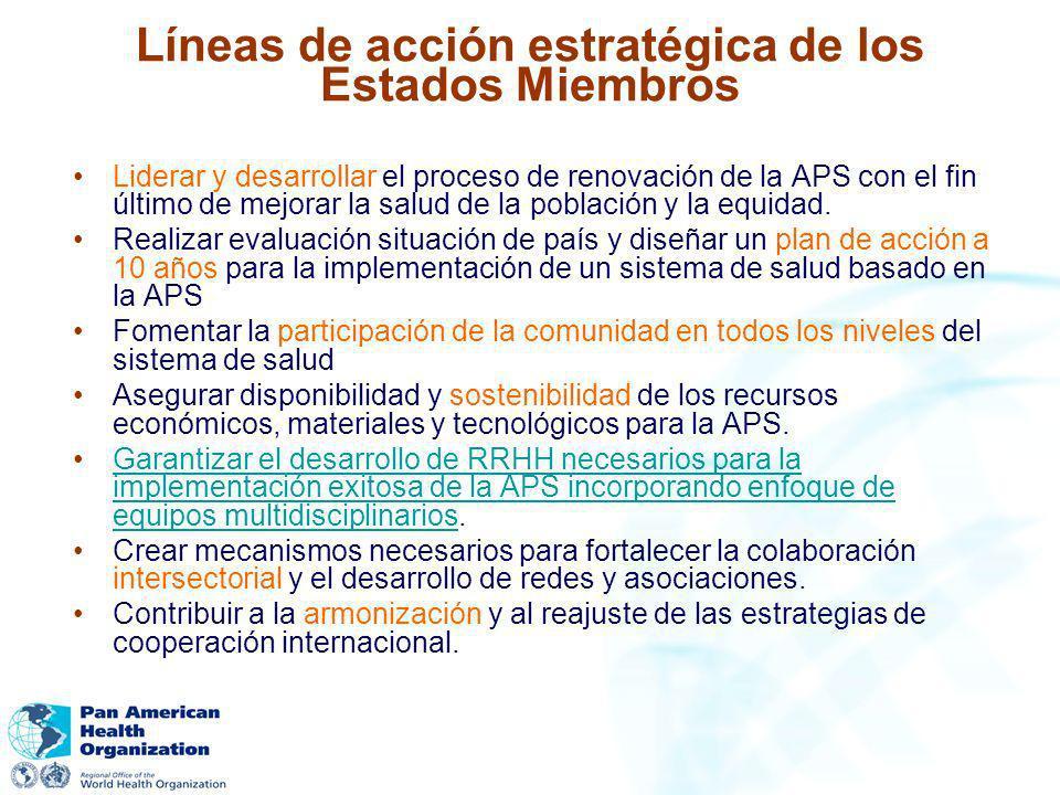 Líneas de acción estratégica de los Estados Miembros Liderar y desarrollar el proceso de renovación de la APS con el fin último de mejorar la salud de