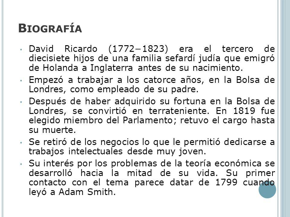 B IOGRAFÍA David Ricardo (17721823) era el tercero de diecisiete hijos de una familia sefardí judía que emigró de Holanda a Inglaterra antes de su nac