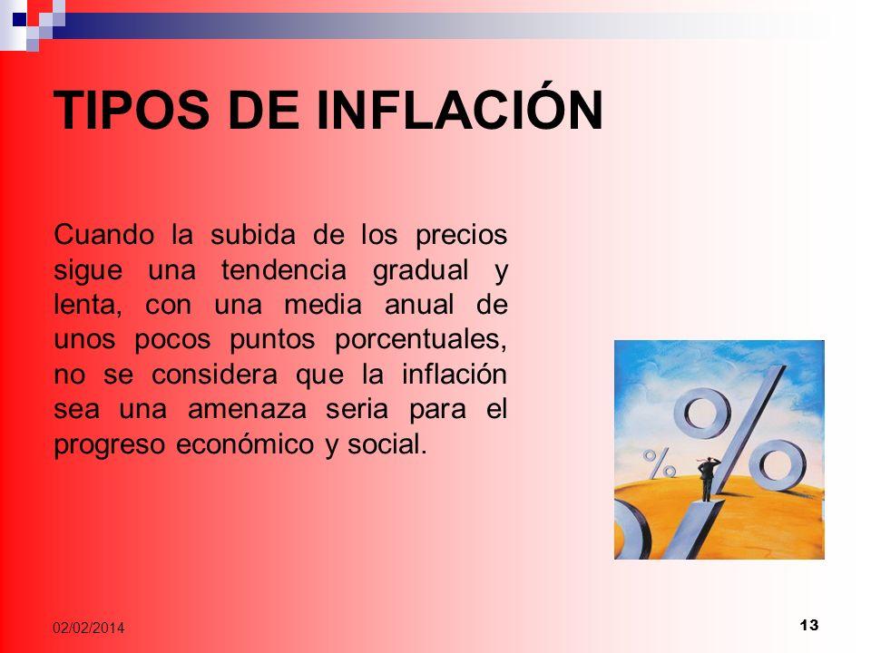 13 02/02/2014 TIPOS DE INFLACIÓN Cuando la subida de los precios sigue una tendencia gradual y lenta, con una media anual de unos pocos puntos porcentuales, no se considera que la inflación sea una amenaza seria para el progreso económico y social.