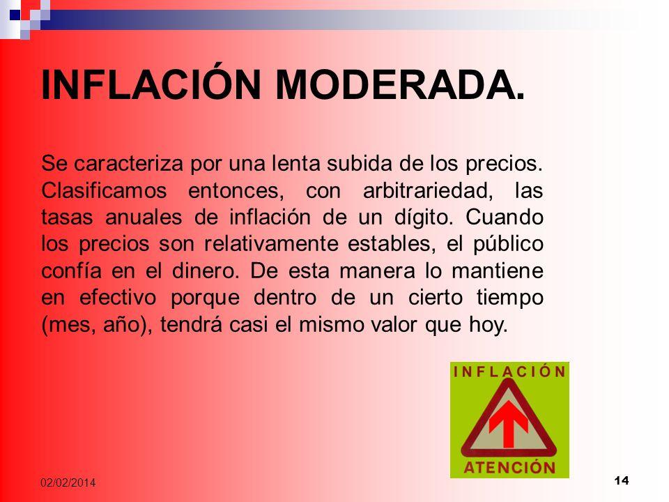 14 02/02/2014 INFLACIÓN MODERADA.Se caracteriza por una lenta subida de los precios.