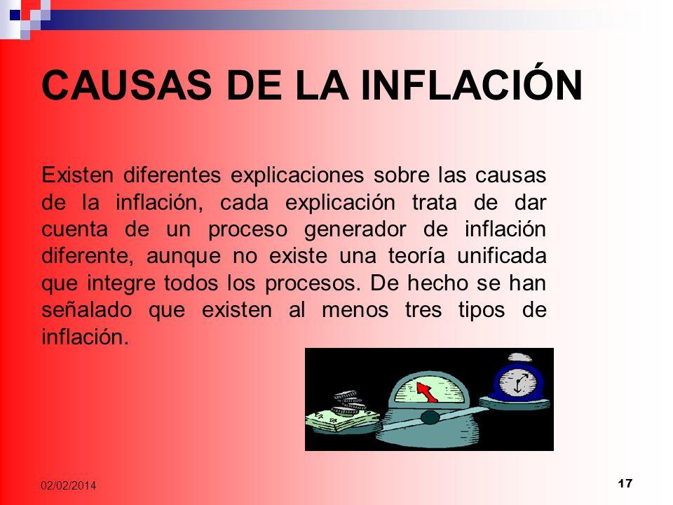 17 02/02/2014 CAUSAS DE LA INFLACIÓN Existen diferentes explicaciones sobre las causas de la inflación, cada explicación trata de dar cuenta de un proceso generador de inflación diferente, aunque no existe una teoría unificada que integre todos los procesos.