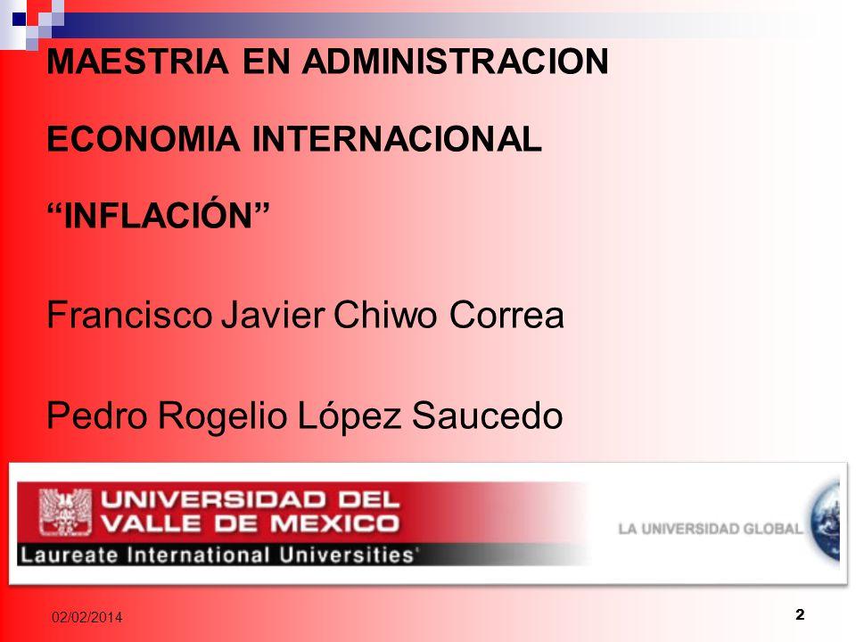 2 MAESTRIA EN ADMINISTRACION ECONOMIA INTERNACIONAL INFLACIÓN Francisco Javier Chiwo Correa Pedro Rogelio López Saucedo