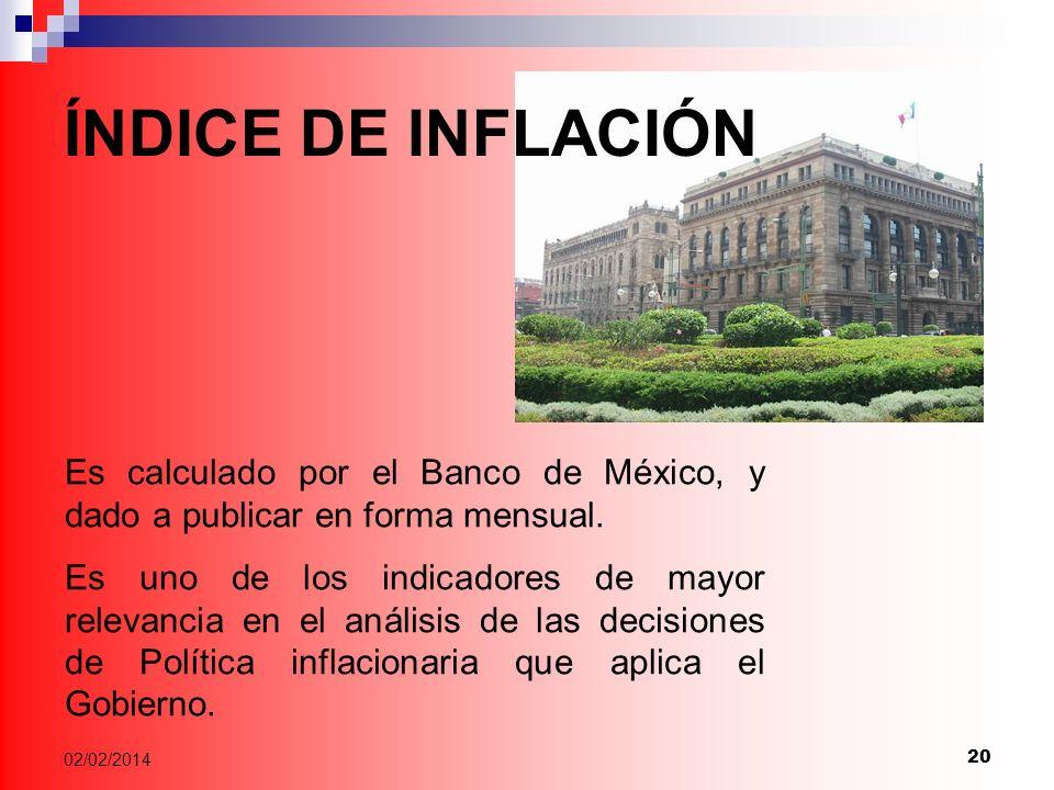 20 02/02/2014 Es calculado por el Banco de México, y dado a publicar en forma mensual.