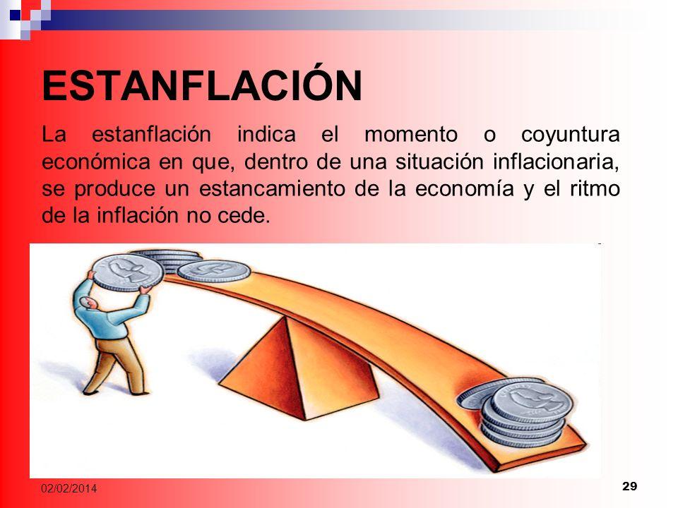 29 02/02/2014 ESTANFLACIÓN La estanflación indica el momento o coyuntura económica en que, dentro de una situación inflacionaria, se produce un estancamiento de la economía y el ritmo de la inflación no cede.