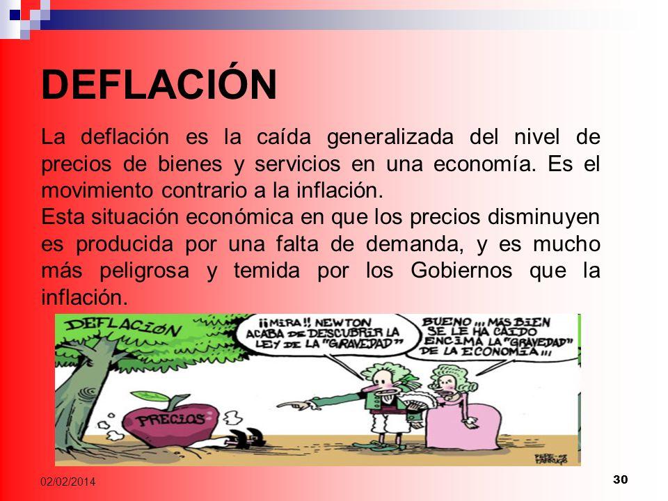 30 02/02/2014 DEFLACIÓN La deflación es la caída generalizada del nivel de precios de bienes y servicios en una economía.