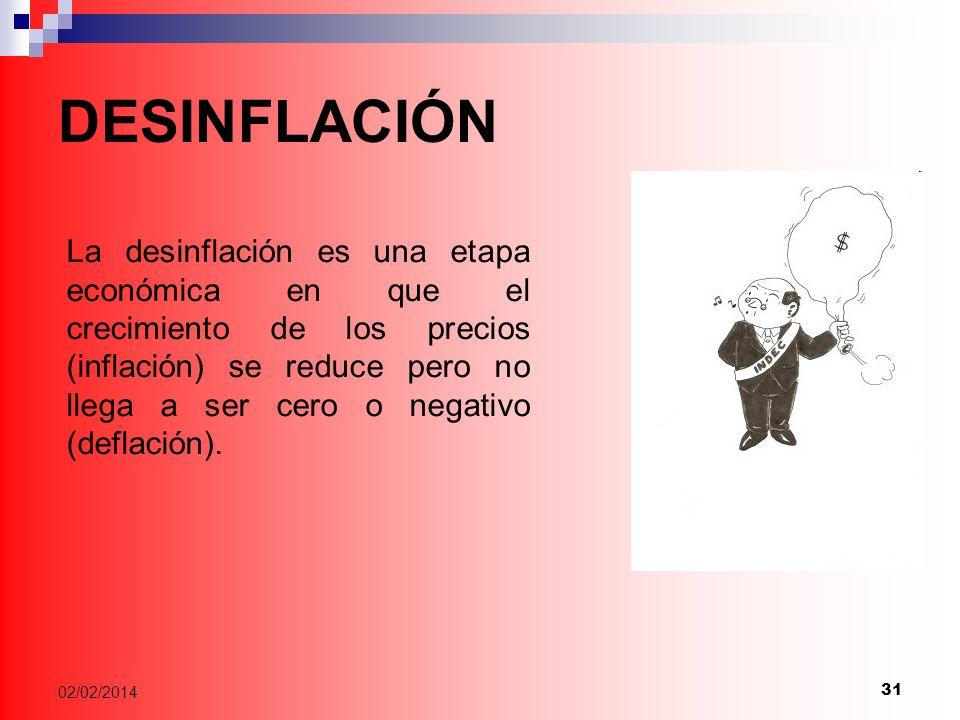 31 02/02/2014 DESINFLACIÓN La desinflación es una etapa económica en que el crecimiento de los precios (inflación) se reduce pero no llega a ser cero o negativo (deflación).