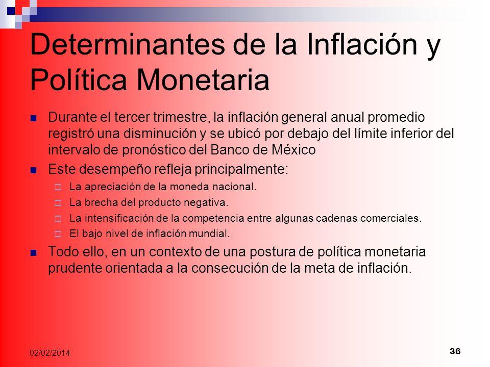 Determinantes de la Inflación y Política Monetaria Durante el tercer trimestre, la inflación general anual promedio registró una disminución y se ubicó por debajo del límite inferior del intervalo de pronóstico del Banco de México Este desempeño refleja principalmente: La apreciación de la moneda nacional.