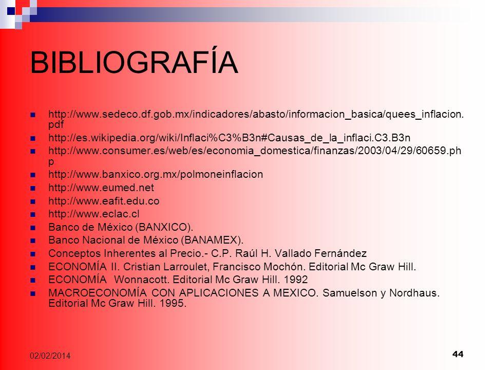 44 02/02/2014 BIBLIOGRAFÍA http://www.sedeco.df.gob.mx/indicadores/abasto/informacion_basica/quees_inflacion.