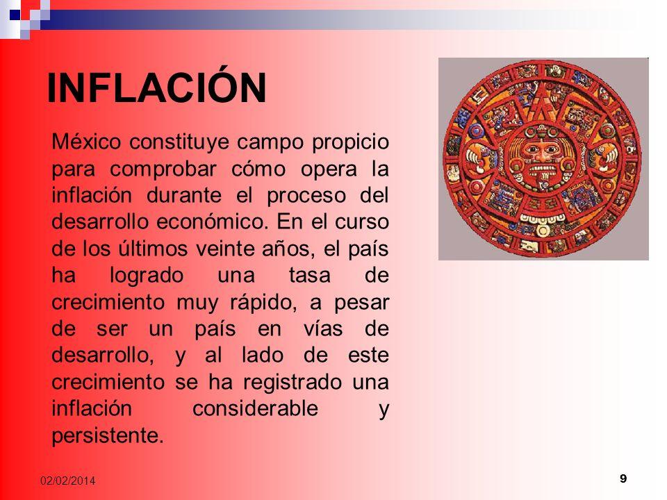 9 02/02/2014 México constituye campo propicio para comprobar cómo opera la inflación durante el proceso del desarrollo económico.
