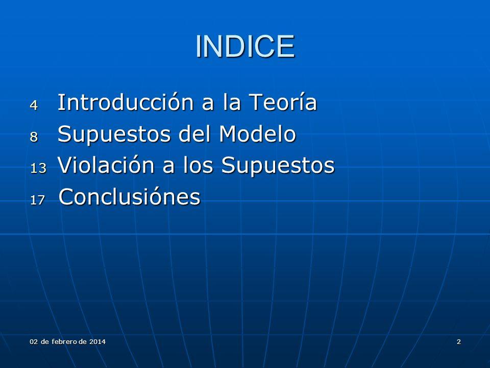 INDICE 4 Introducción a la Teoría 8 Supuestos del Modelo 13 Violación a los Supuestos 17 Conclusiónes 02 de febrero de 201402 de febrero de 201402 de