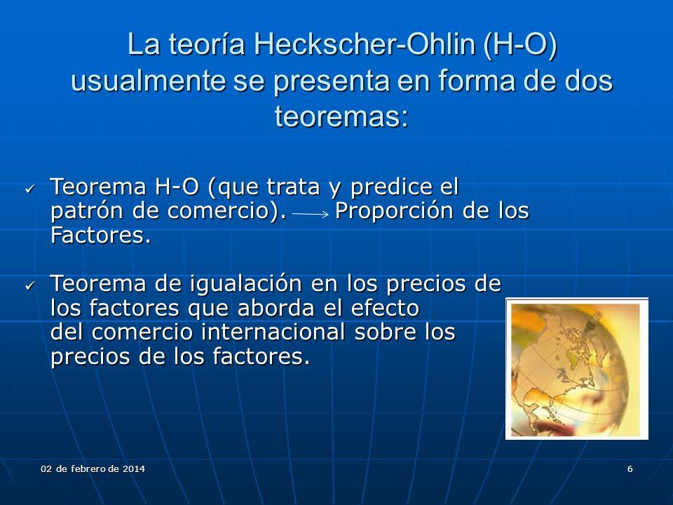 Teorema H-O (que trata y predice el patrón de comercio). Proporción de los Factores. Teorema H-O (que trata y predice el patrón de comercio). Proporci