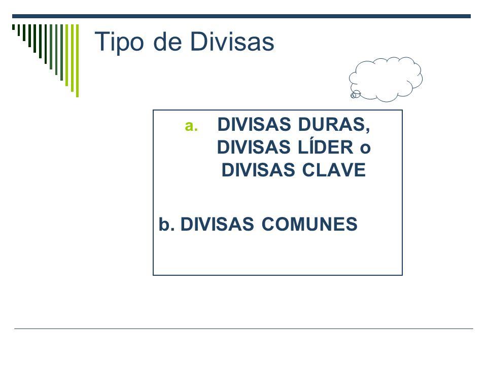 Tipo de Divisas a. DIVISAS DURAS, DIVISAS LÍDER o DIVISAS CLAVE b. DIVISAS COMUNES