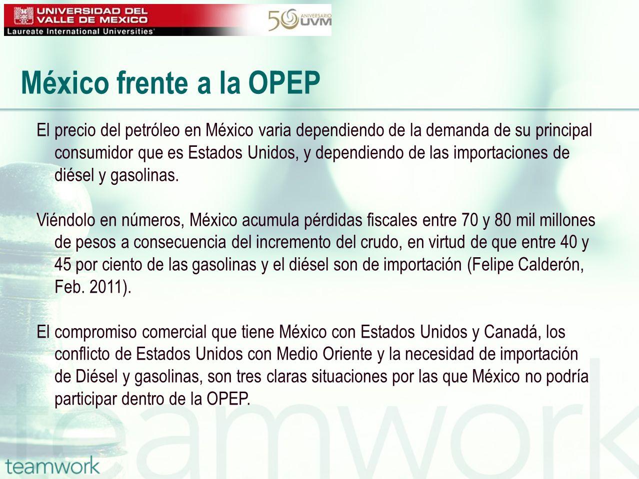 México frente a la OPEP El precio del petróleo en México varia dependiendo de la demanda de su principal consumidor que es Estados Unidos, y dependien