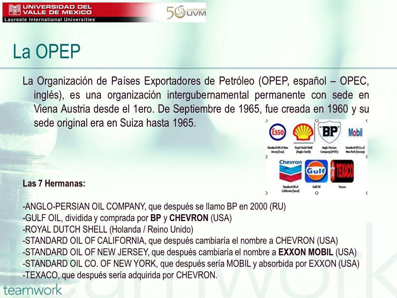 La Organización de Países Exportadores de Petróleo (OPEP, español – OPEC, inglés), es una organización intergubernamental permanente con sede en Viena