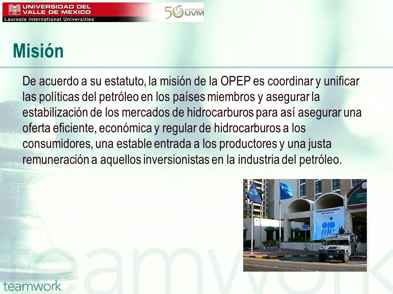 De acuerdo a su estatuto, la misión de la OPEP es coordinar y unificar las políticas del petróleo en los países miembros y asegurar la estabilización