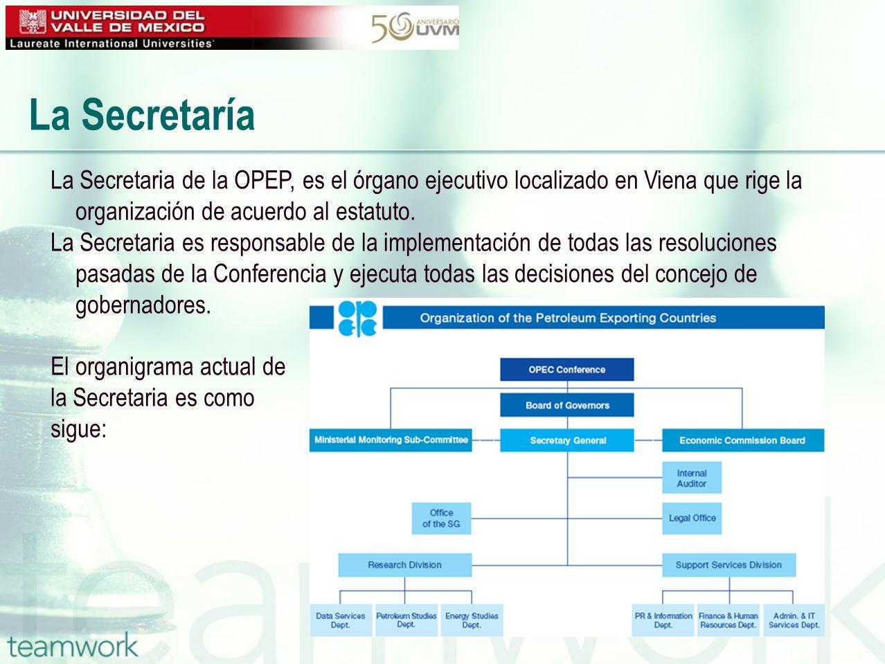 La Secretaria de la OPEP, es el órgano ejecutivo localizado en Viena que rige la organización de acuerdo al estatuto. La Secretaria es responsable de