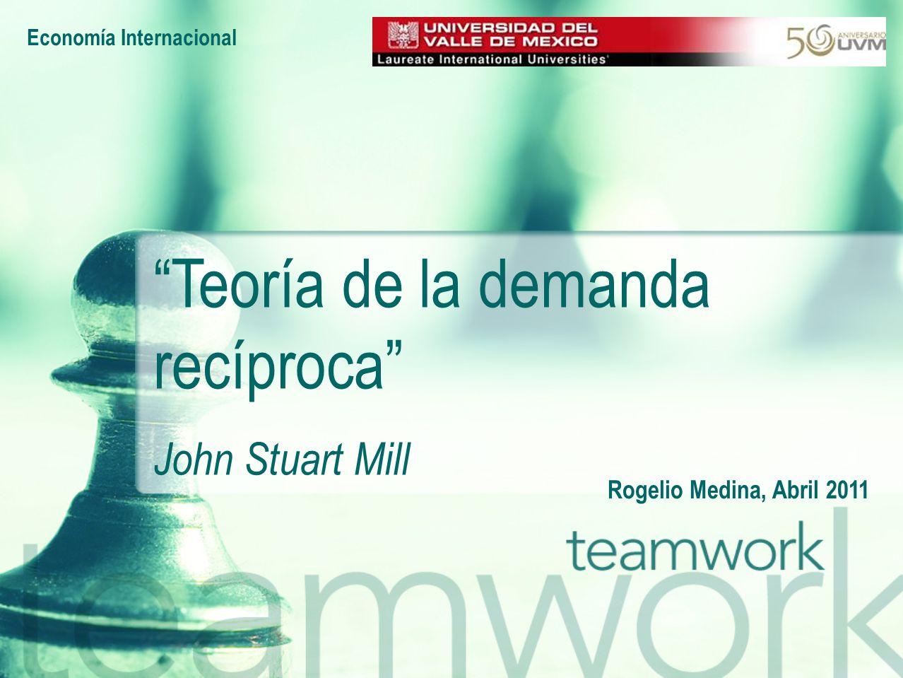 Economía Internacional Rogelio Medina, Abril 2011 Teoría de la demanda recíproca John Stuart Mill