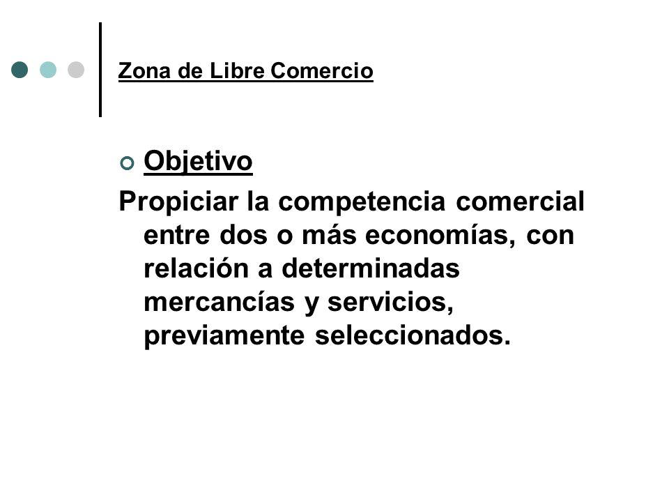Zona de Libre Comercio Objetivo Propiciar la competencia comercial entre dos o más economías, con relación a determinadas mercancías y servicios, prev